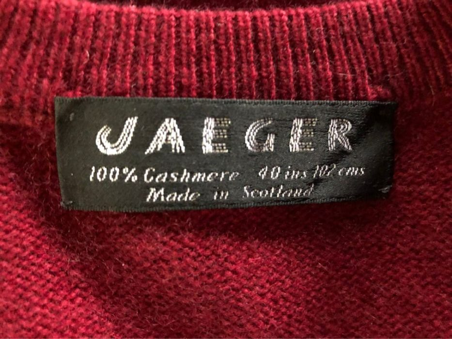 Mens Jaeger V Neck Sweater In Burgundy In 100 Cashmere Softtouch Cashmere
