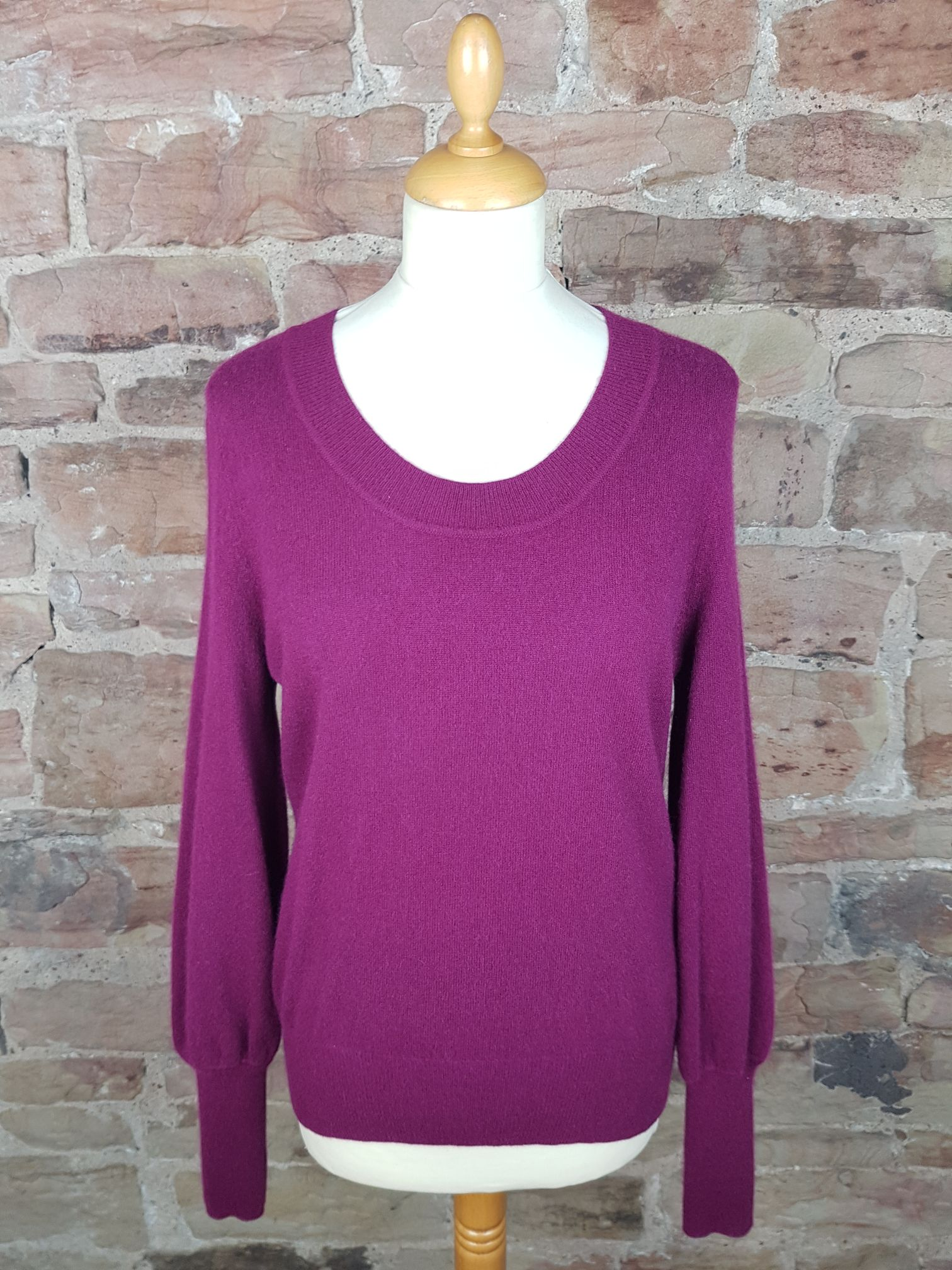 Jaeger Maroon Ladies Cashmere Sweater Softtouch Cashmere